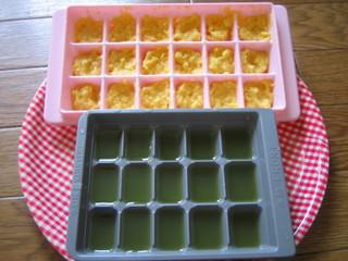 下ごしらえ(緑の野菜ジュース&コーンクリーム缶)