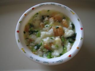 青菜のスープパンがゆ