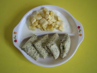 蒸しパン&バナナヨーグルト
