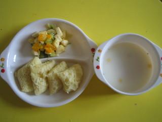 蒸しパン&スープ&フルーツ
