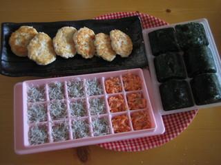 下ごしらえ(しらす・鮭・豆腐ハンバーグ)